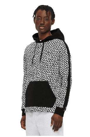 Static Hoodie M11MS608H Black Checkered Print Front