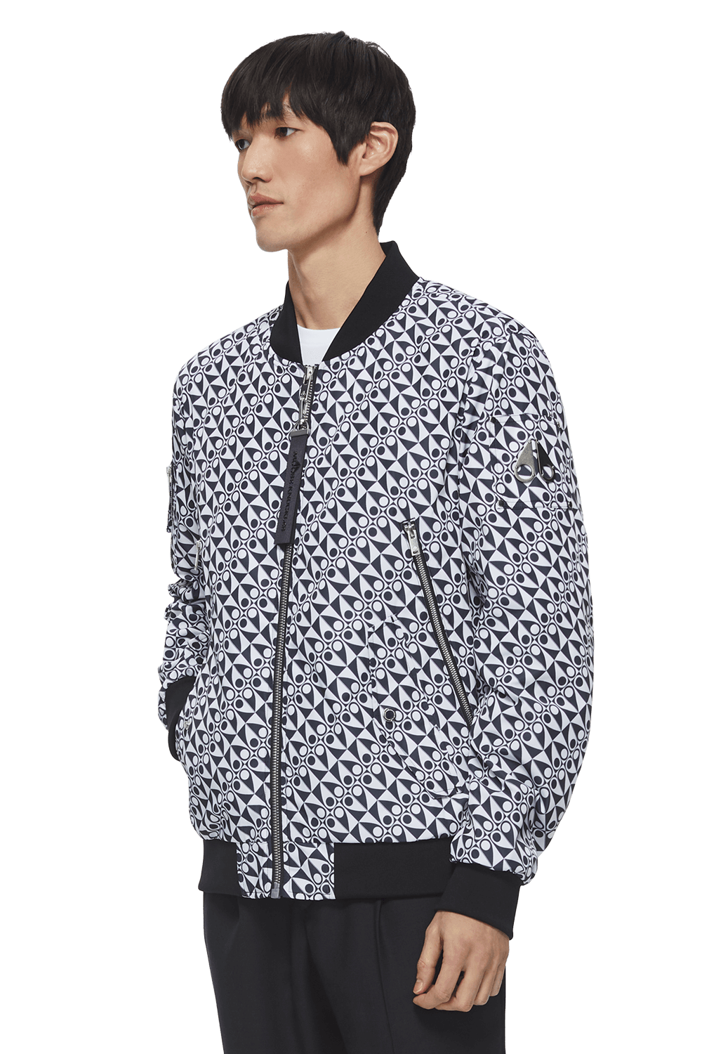Hey Monday Bomber M11MB025H Black Checkered Print Front