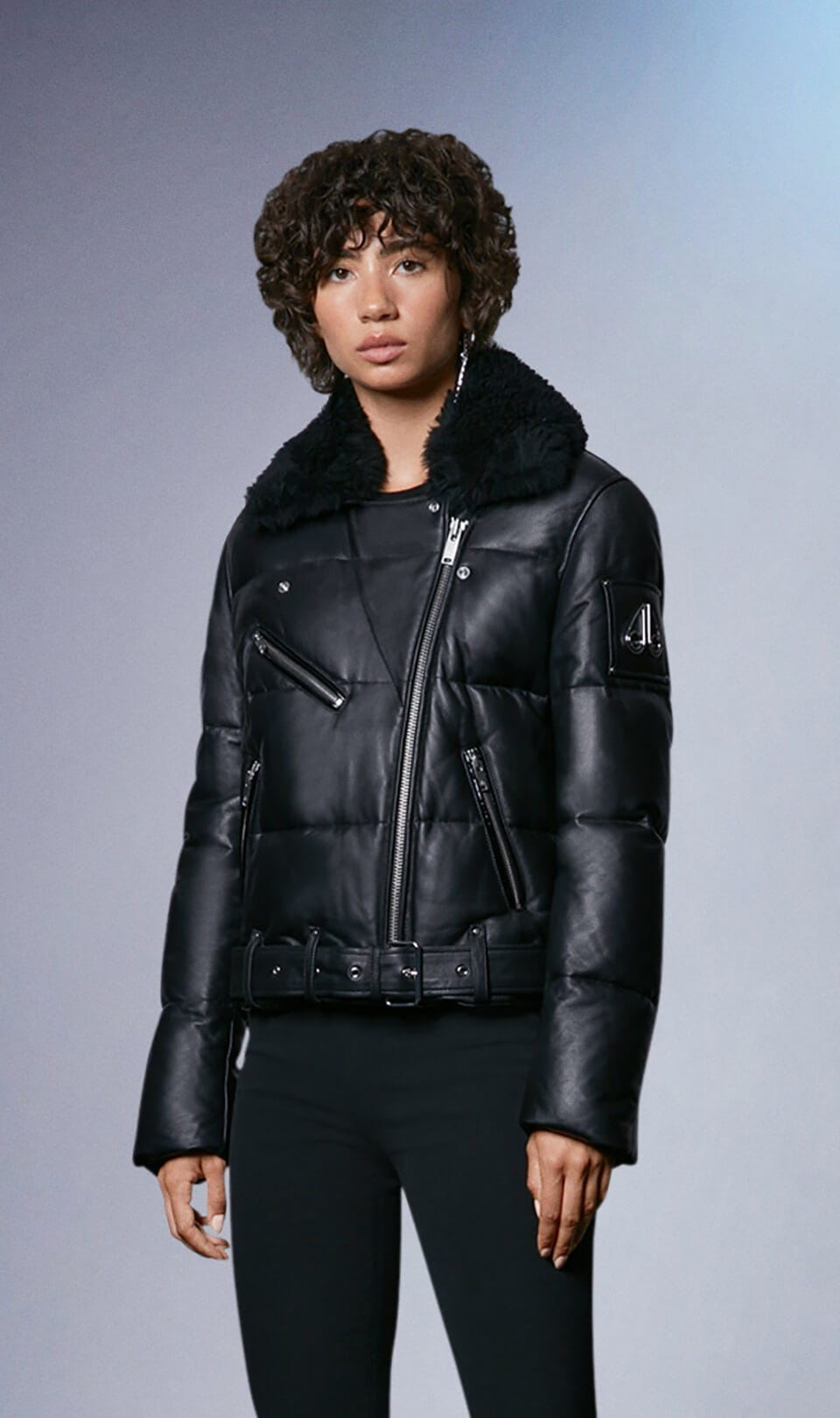 Chauvreulx Leather Puffer M31LL332 Black Front Category
