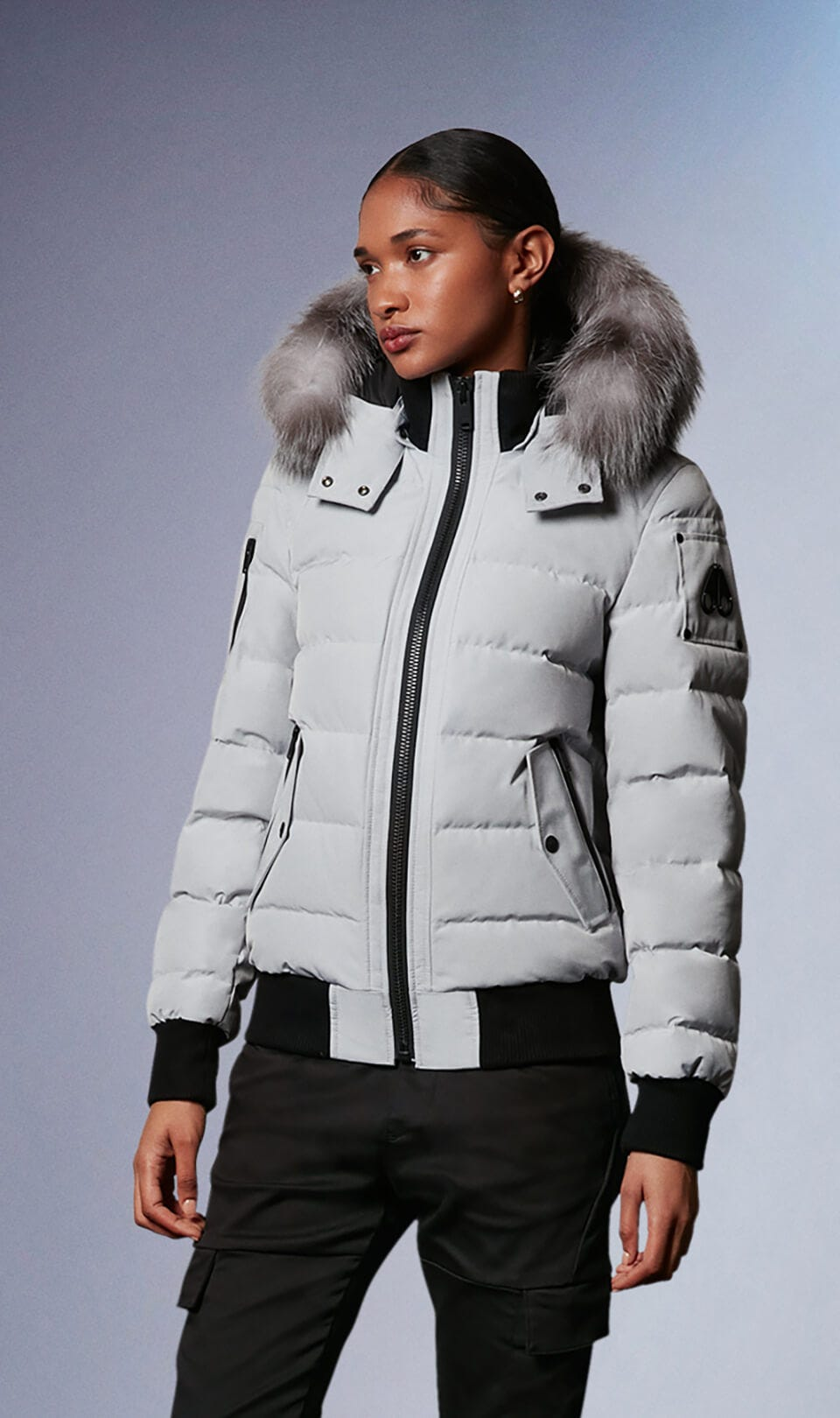 Ladriere Bomber M39LB015 Gray Birch / Frost Fox Fur Front Category
