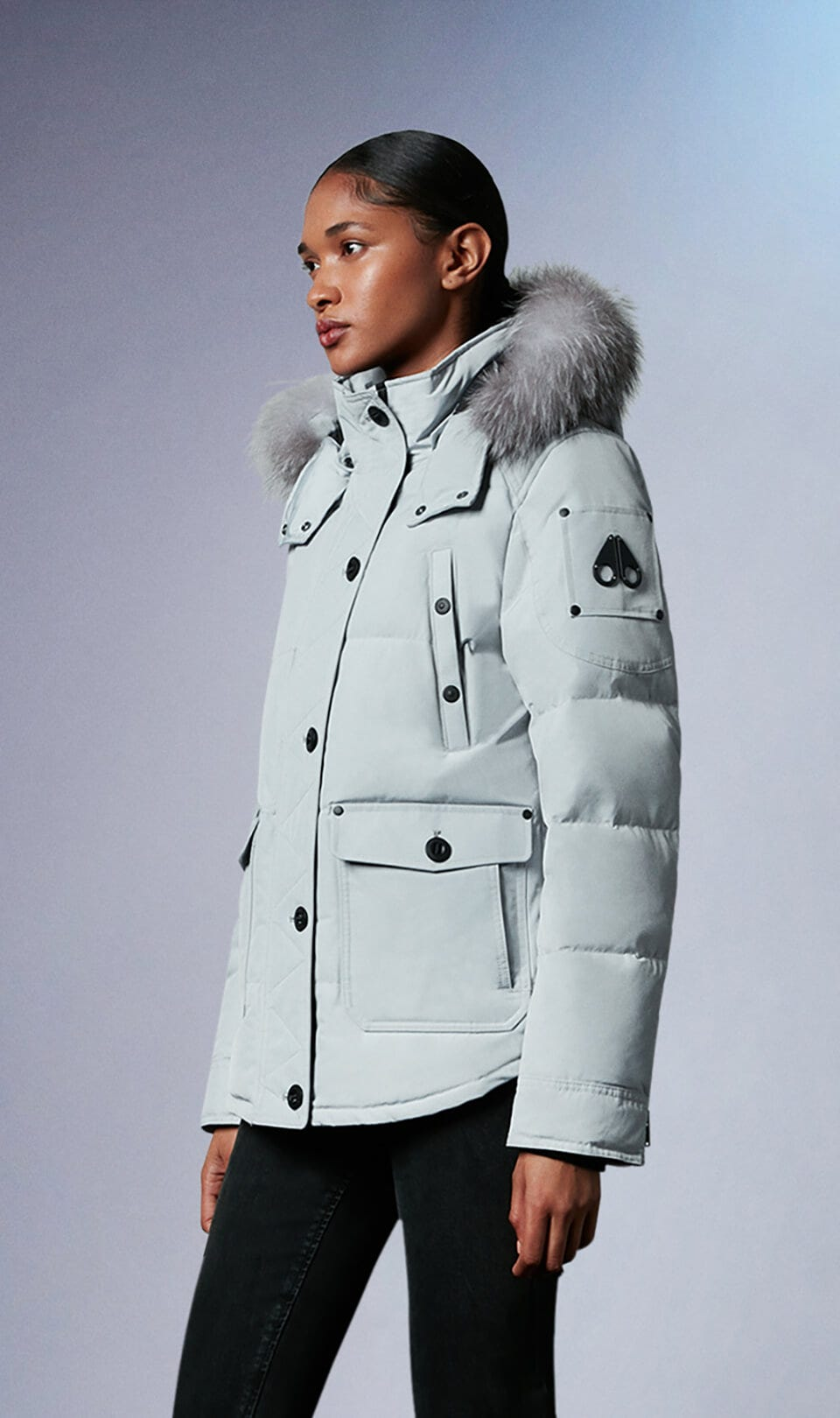 Anguille Jacket M39LJ113 Gray Birch / Frost Fox Fur Front Category